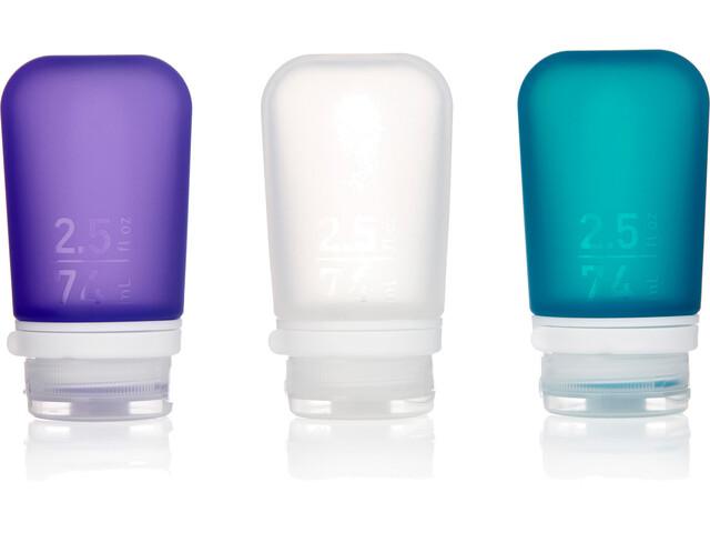 humangear GoToob+ 3-Pack Medium 74ml Clear/Purple/Turquoise
